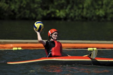 Woman Throwing Polo Ball At The Canoe Polo World Championships