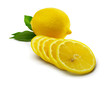 Lemon with leaves and lemon slices