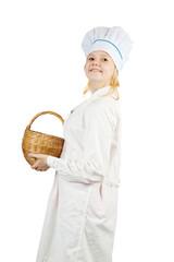 cook girl  holding  wicker basket