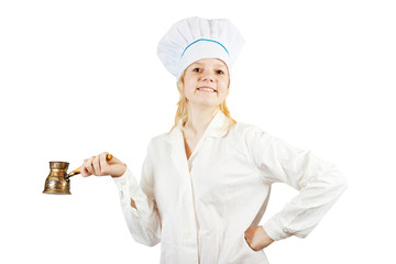 female cook with  cezve