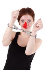 Clown and handcuffs