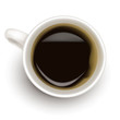 Top view of black coffee cup. Photo-realistic vector.