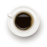 Fototapety Top view of black coffee cup. Photo-realistic vector.