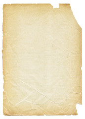 Old torn paper isolated on white background.
