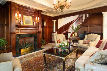 Traditional Living Room with Paneled Walls