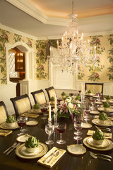 Traditional Dining Room with Floral Wallpaper