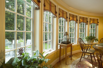 Dining Room with Large Bow Window