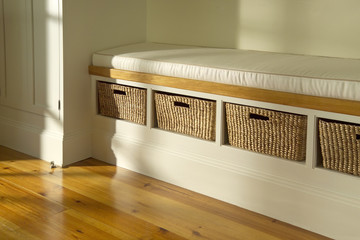 Built-in Bench with Storage Baskets