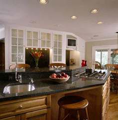 Angled Kitchen Island with Sink and Stovetop