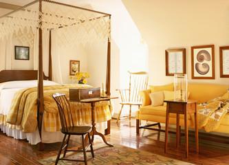 Sun Shining into Traditional Bedroom