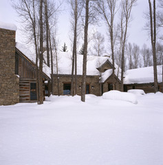 Wood and Stone House in Winter