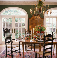 Traditional Dining Room Decorated for Christmas