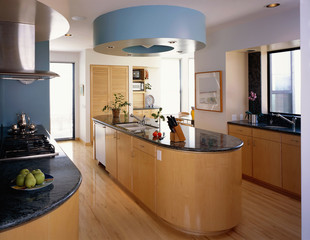 Contemporary Kitchen with Curved Island