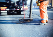 Leinwandbild Motiv Road construction and workers