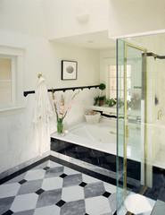 Patterned Tiled Floor in Traditional Bathroom
