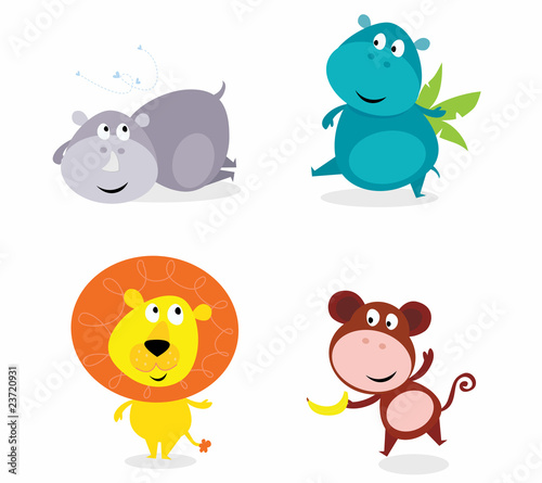 Cute safari animals set - hippo, rhino, lion and monkey