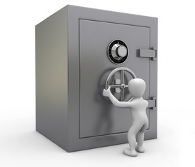 Borko abriendo la caja fuerte