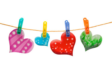 Four colorful hearts on the rope