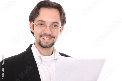 Business man writting in a notepad