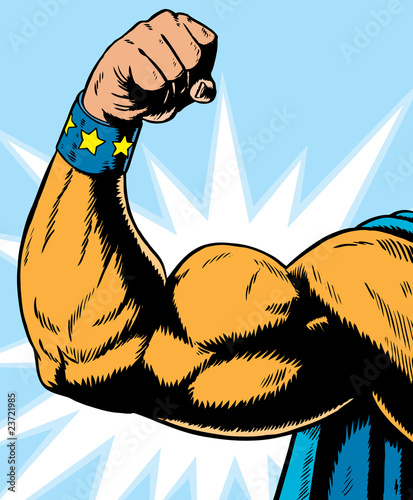 superhero arm flexing.