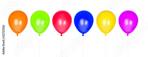 Six colorful balloons inflated