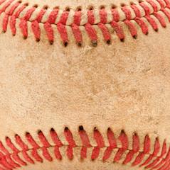 Macro Detail of Worn Baseball