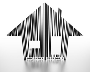 Generic barcode in shape of a house.