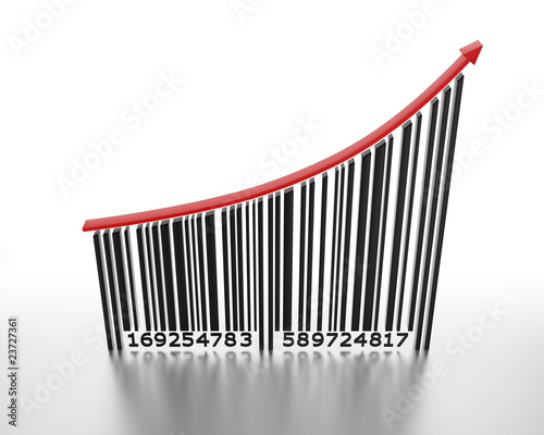3D barcode with a red arrow pointing up