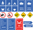 sea danger and information signs