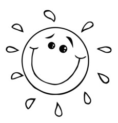 Outlined Smiling Sun Cartoon Character