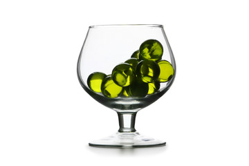 Glass goblet with green hyaloid balls