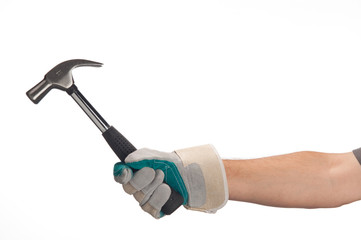 mano di operaio con martello