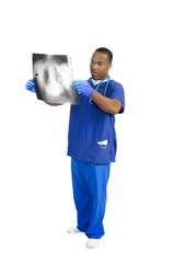 Doctor with xray on white