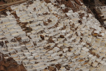 Salt pans of Salinas in Sacred valley, Peru
