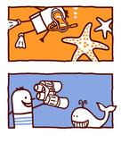 Fototapety starfish & whale