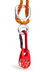 Climbing equipment - pulley, rope, carabiner, figure eight