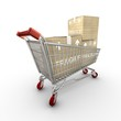 Isolated shopping cart with three boxes
