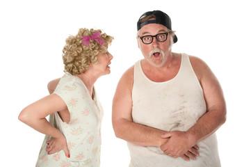 Couple fighting or sharing shocking secret
