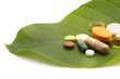 vitamins pills and tablets on green leaf