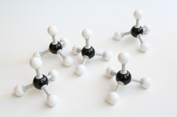 Methane Ball and Stick Molecules