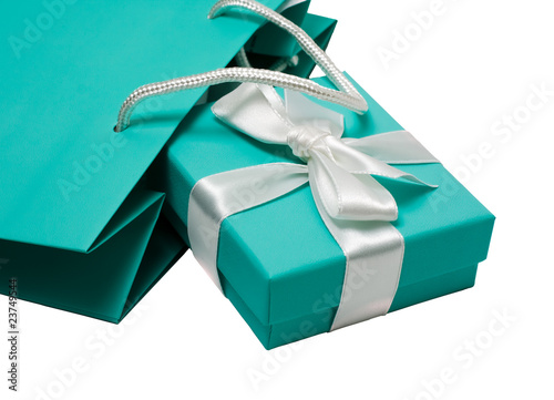 Gift box with white bow and gift bag on the white background - 23749544