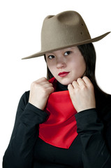 Young woman in red neck kerchief