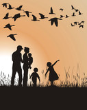 Family pursues migrating geese poster