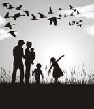 Family pursues migrating geese, black and white poster