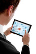 businessman holding a touchpad pc and surfing in the social netw