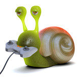 3d Snail plays a videogame poster