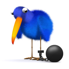 3d Blue bird drags ball and chain