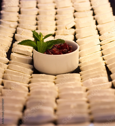 Berries and Mint on Tray of Cream Cheese