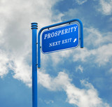 Road sign to prosperity poster