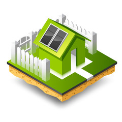 Small isometric house with solar panel
